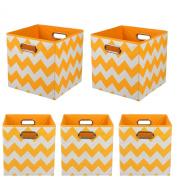 Modern Littles Organisation Bundle Storage Bins, Bold Orange Chevron, 5 Count