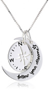 "Sterling Silver Two Piece Compass ""Follow our Dreams"" Pendant Necklace, 46cm"