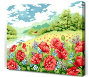 Diy oil painting, paint by number kit- Poppy Garden 16*50cm .
