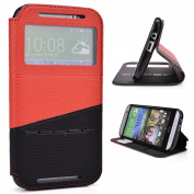 Red / Black Slide Auto Answer Stand Case for HTC One M8