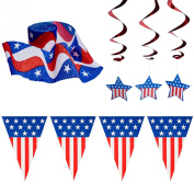 4th of July Patriotic Decorations Party Pack, Includes a 7.3m Stars and Stripes Banner, Patriotic Streamers and Hanging Swirl Star Shaped Decorations!