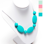 """Silicone Teething Necklace - 12 Colour Choices - Baby Safe For Mom To Wear - BPA-Free Chew Beads - Stylish & Natural """"Ava"""""""