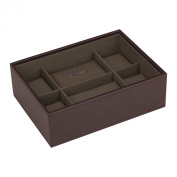 STACKERS - Men's Casual Brown 8pc Watch Box STACKER with Khaki Canvas Lining