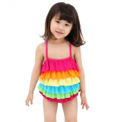 LOCOMO Cute Girl Kid Rainbow Colour Ruffle Layered Tiered Swimwear Swimsuit One Piece Bathing Suit Large FBS001L