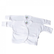 Veka Baby Products-Baby 2pk Long sleeve wrap over vest with scratch mitts NB