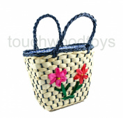 Childrens straw bag basket toy carry case Easter basket for little girls FREE POSTAGE
