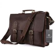 "Bags World YAAGLE High Quality Handmade shoulder bags 100% Crazy horse HANDMADE Leather Men's Briefcase Handbag Messenger Bag Laptop Bag Cowboy,15.5""(39cm) L x 3""(7.6cm) D x 11.5""(29cm) H,Dark coffee"