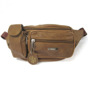 Real Leather Bum Bag with Zipped Pockets and Mobile Phone Pouch by Lorenz