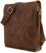 "LEABAGS - Unisex Leather Cross Body Flapover Shoulder Bag ""LONDON"" Vintage Style made of Genuine Buffalo Leather"