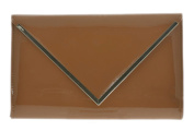 Girly HandBags Oversized Designer Nude Clutch Bag Beige Patent Glossy Pleated Party Evening