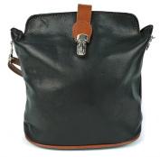 Genuine Italian Soft Leather Small Cross Body Handbag in Tan Black