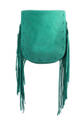 Real Suede Fringe X Cross Body Tassel Festival Bag - Black / Green / Tan / Oxblood
