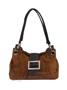 Womens Italian Real Suede Leather Buckle Twin Strap Shoulder Handbag