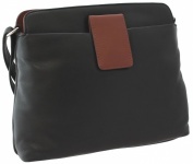 Ashlie Craft Leather Shoulder Bag Style AC8200_ac Black/Cognac