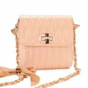 Ladies new stylish handbag in pink and black colour, leather look and gold and black long chain