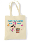 Blowing Out Candles for 69 Years 69th Birthday Tote / Shoulder Bag