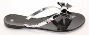 Holiday Beach Summer Jelly Bow Diamante Flip Flop Sandals Flat Shoes Size 3-8 New