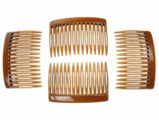 4 Pack 7cm Tort Brown Hair Side Combs Slides Grips