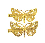 Gold Tone Butterfly Hair Clips Filigree Type