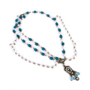 Phenovo Bohemian Beaded Head Chain Headband Hair Band Blue and White