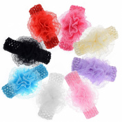 Imixlot 8Pieces Baby Girl's Headbands Lace Flower Hair Accessories Headwear