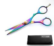 Titanium Offset Hair Cutting Scissors, Salon Scissors 5.5 inch (14cm) - Presentation Case