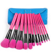 12pcs MSQ Pro Primer Cosmetics Make Up Brushes Kits Set With Leather Bag Case Hot Pink Fashion Style