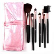 Meta-U 7Pcs/Set Professional Foundation Makeup Brushes with PU Roll Bag