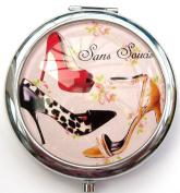 Sans Soucis - Black, Red & Yellow Shoe Design Round Compact Mirror