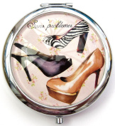 Sans problems - Black, White and Purple Shoe Design Round Compact Mirror