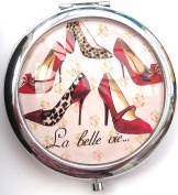 La belle vie...with Red and Black Shoe Design Round Compact Mirror