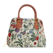 Signare Womens Fashion Canvas Tapestry Convertible Shoulder Handbag in Morning Garden Design
