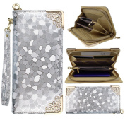 ZXK PU Leather Women Lady Girls Clutch Wallet Purse With Multi Card Slots Mobile Phone Holder Zipped Closure Hand-Inlaid Clutch Wallet Pouch Bag with Portable Rope for Apple iPhone 5/5S/5C/6/6S,iPod Touch 5/4,Samsung Galaxy A3 /A5/A7/S4 Mini/S5 Mini/S6 ..