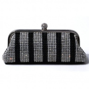 Elegant Evening Black Clutch Bag With Silver Crystals - 2018