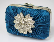 Womens Pleated Boxed Floral Crystal Evening Clutch Bag (13cm x 10cm ) with PreciousBags Dust Bag