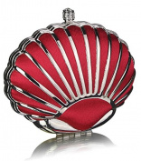 RED HARD CASE CLUTCH BAG WITH A ART DECO OYSTER SHELL DESIGN DETAILING LSE00163