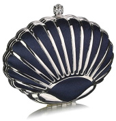 NAVY HARD CASE CLUTCH BAG WITH A ART DECO OYSTER SHELL DESIGN DETAILING LSE00163