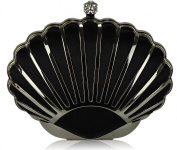 BLACK HARD CASE CLUTCH BAG WITH A ART DECO OYSTER SHELL DESIGN DETAILING LSE00163