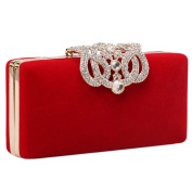 Qianbo Elegant Gold Plated Crystal Rectangular Shell Party Evening Bag Purse Clutch Red
