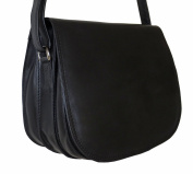 Women's Black Leather Saddle Shoulder Bag, Large