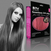 BiYa Hair Elements Thermatt Clip In Half 3/4 Wig Hair Extensions Straight, Wine Red Number A39 60cm