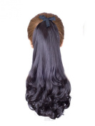 Homedecoam Womens Hairpiece Wavy Curly Black Rope Tied Ponytail Hair Extensions
