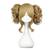 Lolita 6 Colours Dark Blonde Short Curly Style Fashion Cosplay Hair Wig+ Two Lovely Ponytails