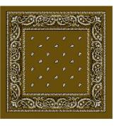Olive Brown Bandana - Paisley - Classic Paisley Bandana In Neutral Olive