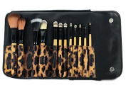 Lychee Leopard Pro 12Pcs Makeup Soft Brushes Eyeshadow Beauty Cosmetic Sets Kits Brown