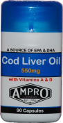 Ampro Cod Liver Oil 550mg x 90 Capsules - Source of Omega-3 with Vitamins A and D / Source of EPA and DHA with Vitamins A and D / Supplement / Health / Fitness / Sooth Aching Joints & Arthritis