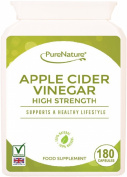 Apple Cider Vinegar 180 High Strength Capsules to Support and Maintain a Healthy Body Fluid Balance, Diet, Weight loss and Sugar Balance FREE UK Delivery