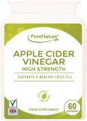 Apple Cider Vinegar 60 High Strength Capsules to Support and Maintain a Healthy Body Fluid Balance, Diet, Weight loss and Sugar Balance FREE UK Delivery