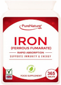 IRON Ferrous Fumarate 12 Month Supply 365 Easy to Swallow Rapid Absorption Maximum Strength Tablets Suitable for Vegetarians and Vegans FREE UK Delivery