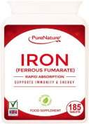 IRON Ferrous Fumarate 6 Month Supply 185 Easy to Swallow Rapid Absorption Maximum Strength Tablets Suitable for Vegetarians and Vegans FREE UK Delivery